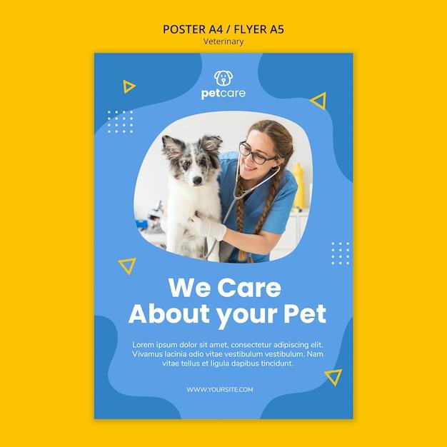 Modèle D'affiche Vétérinaire Vétérinaire Femelle Et Chien Mignon Psd gratuit