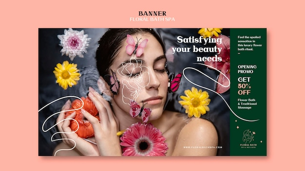 Modèle D'annonce De Bannière Spa Floral Psd gratuit