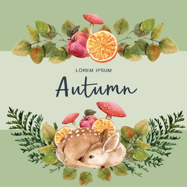 Modèle automne-thème avec cadre de bordure. Psd gratuit
