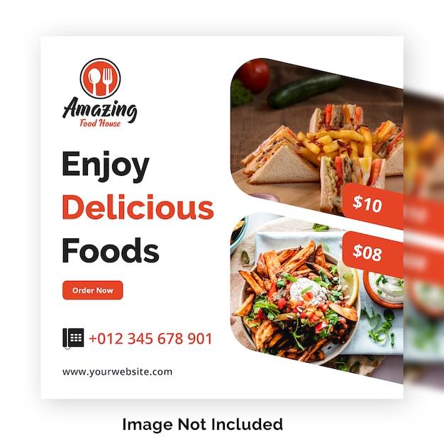 Modèle de bannière alimentaire médias sociaux post pour restaurant PSD Premium
