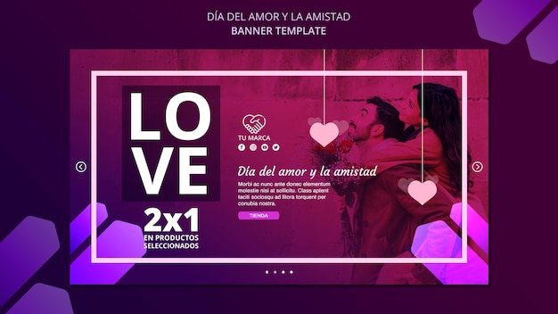 Modèle De Bannière D'amour Valentine Psd gratuit