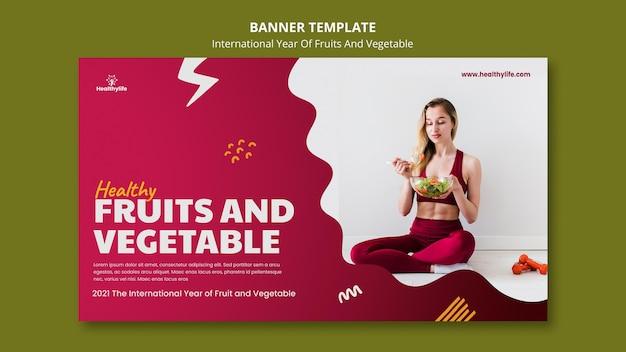 Modèle De Bannière Année Fruits Et Légumes Psd gratuit