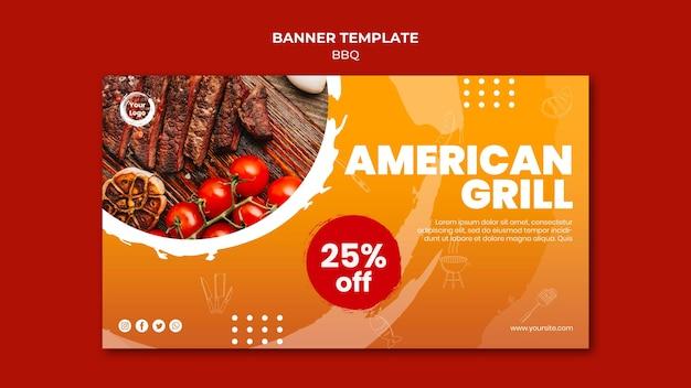 Modèle De Bannière De Barbecue Américain Et Grill Psd gratuit