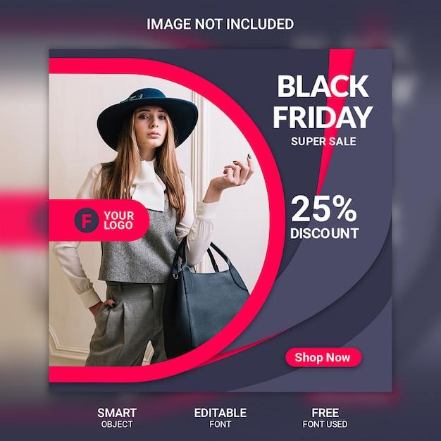 Modèle de bannière black friday vente médias sociaux PSD Premium