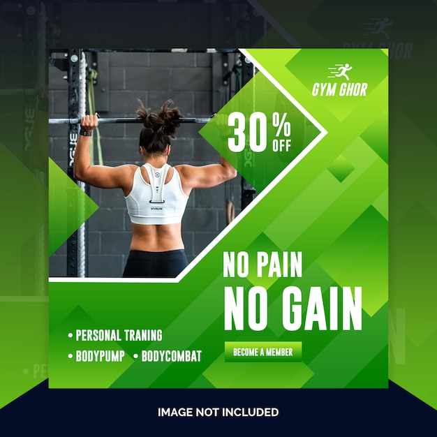 Modèle de bannière carrée gym PSD Premium