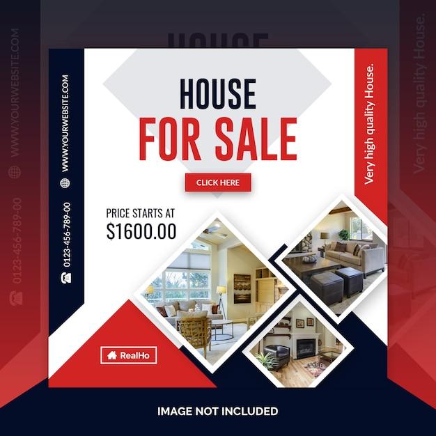 Modèle de bannière carrée immobilier PSD Premium
