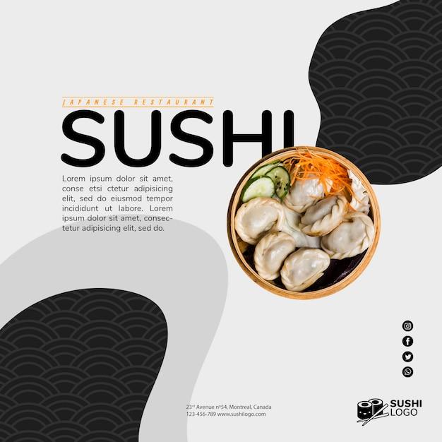 Modèle De Bannière Carrée Restaurant Sushi Asiatique Psd gratuit