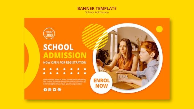 Modèle De Bannière De Concept D'admission Scolaire Psd gratuit