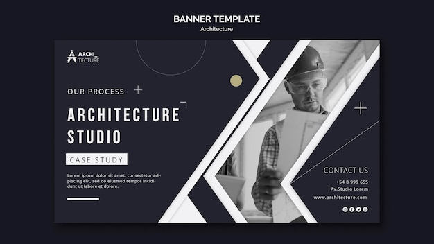 Modèle De Bannière De Concept D'architecture Psd gratuit