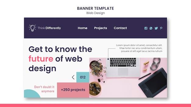 Modèle De Bannière De Concept De Conception Web PSD Premium