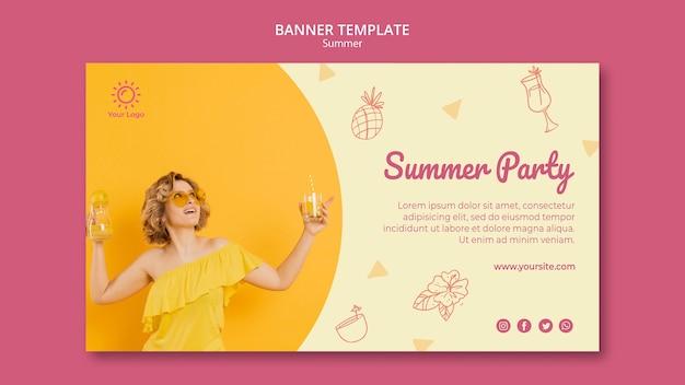 Modèle De Bannière Avec Concept De Fête D'été Psd gratuit