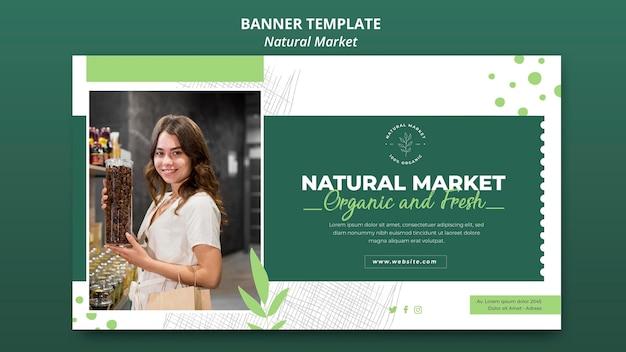Modèle De Bannière De Concept De Marché Naturel Psd gratuit