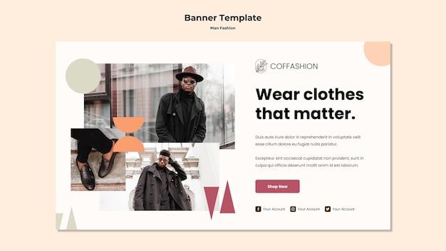 Modèle De Bannière De Concept De Mode Homme Psd gratuit