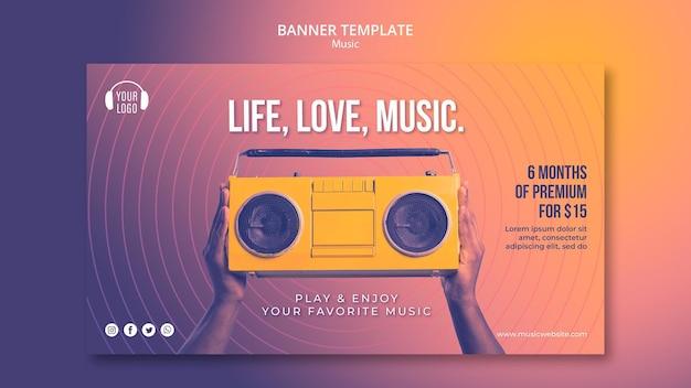 Modèle De Bannière De Concept De Musique Psd gratuit