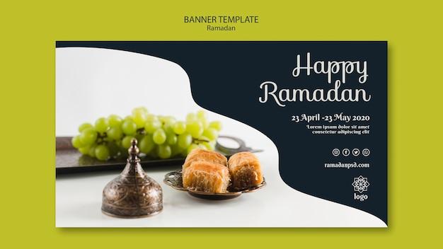 Modèle De Bannière De Concept De Ramadan Heureux Psd gratuit