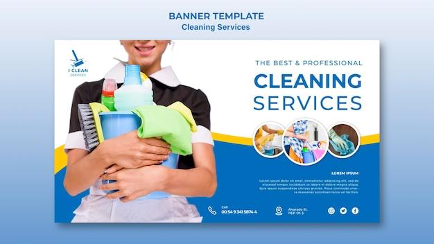 Modèle De Bannière De Concept De Service De Nettoyage PSD Premium