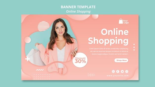 Modèle De Bannière Avec Concept De Shopping En Ligne Psd gratuit