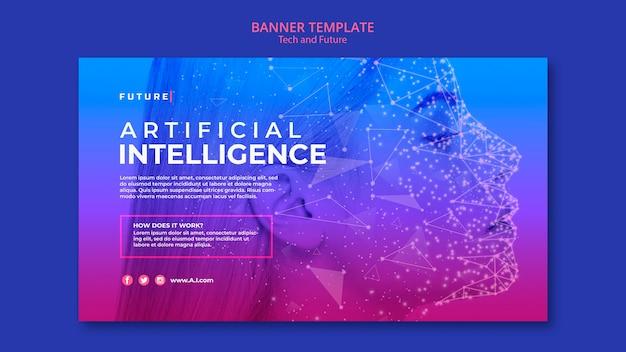 Modèle De Bannière De Concept Technologique Et Futur Avec Photo Psd gratuit