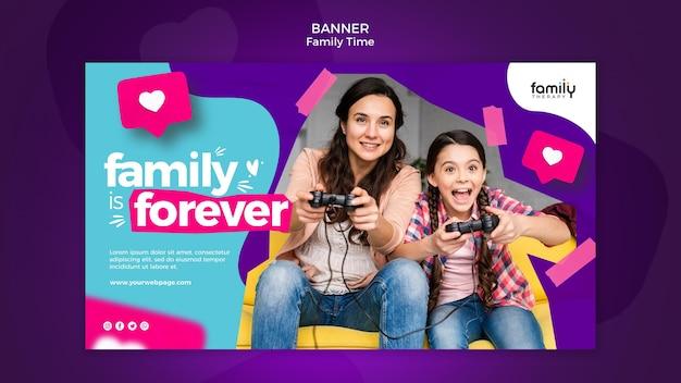 Modèle De Bannière De Concept De Temps En Famille Psd gratuit
