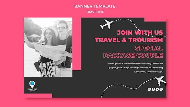 Modèle De Bannière De Concept De Voyage Psd gratuit
