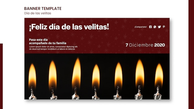 Modèle De Bannière Dia De Las Velitas Psd gratuit