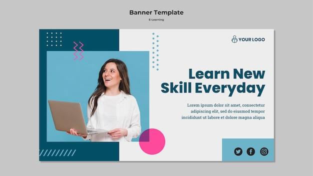 Modèle De Bannière Avec E-learning Psd gratuit