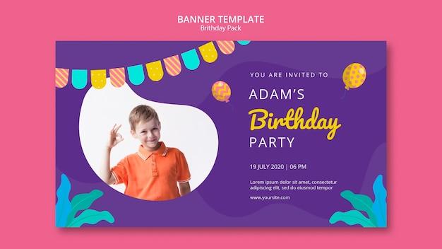 Modèle De Bannière Avec Fête D'anniversaire Psd gratuit