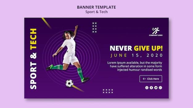 Modèle De Bannière De Football Fille Et Ballon Psd gratuit