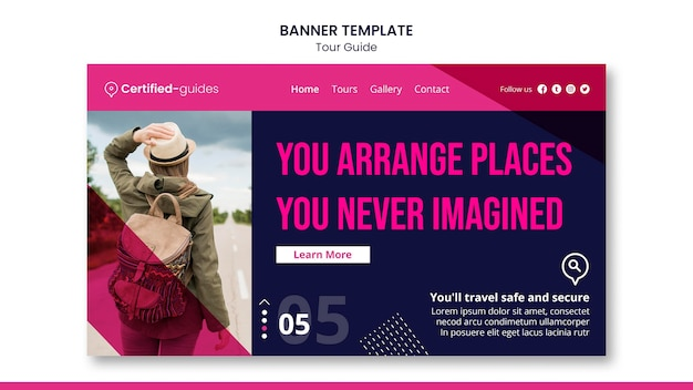 Modèle De Bannière De Guide Touristique Psd gratuit