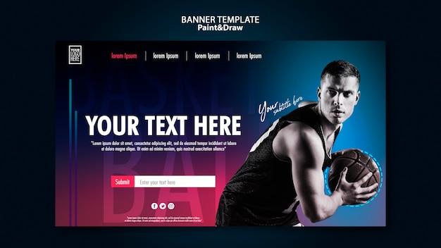 Modèle De Bannière Horizontale De Joueur De Basket-ball Psd gratuit