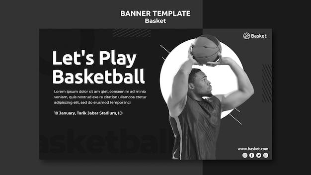 Modèle De Bannière Horizontale En Noir Et Blanc Avec Un Athlète De Basket-ball Masculin Psd gratuit