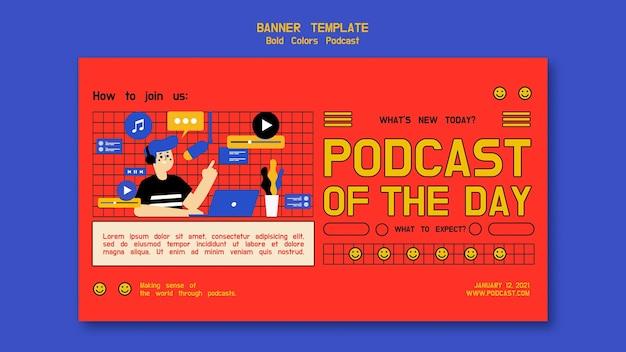 Modèle De Bannière Horizontale De Podcast Psd gratuit