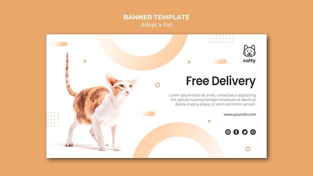 Modèle De Bannière Horizontale Pour Adopter Un Animal De Compagnie Avec Un Chat Psd gratuit