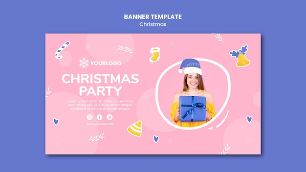 Modèle De Bannière Horizontale Pour La Fête De Noël Psd gratuit