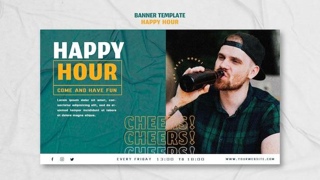 Modèle De Bannière Horizontale Pour Happy Hour Psd gratuit