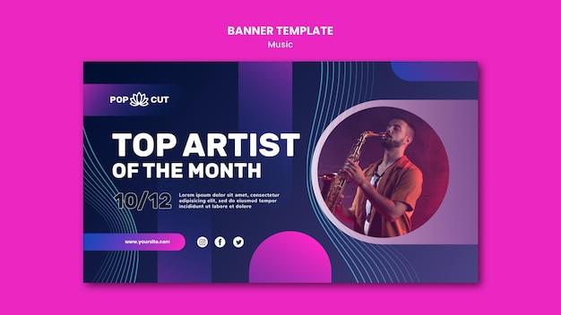 Modèle De Bannière Horizontale Pour La Musique Avec Un Joueur De Jazz Masculin Et Saxophone Psd gratuit