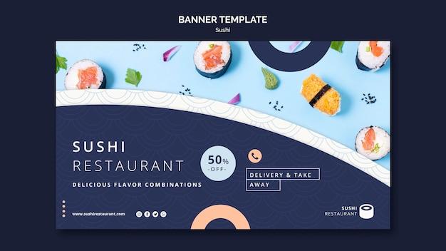 Modèle De Bannière Horizontale Pour Restaurant De Sushi Psd gratuit