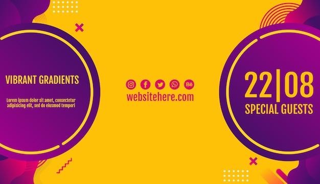 Modèle de bannière jaune festival de musique Psd gratuit