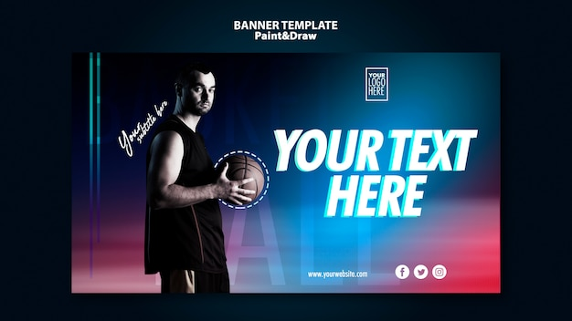 Modèle De Bannière De Joueur De Basket-ball Avec Photo Psd gratuit