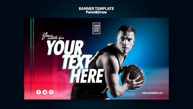 Modèle De Bannière De Joueur De Basket-ball Psd gratuit