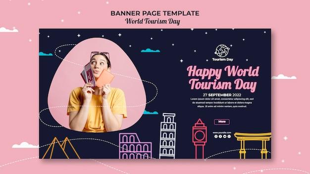Modèle De Bannière De La Journée Mondiale Du Tourisme Psd gratuit