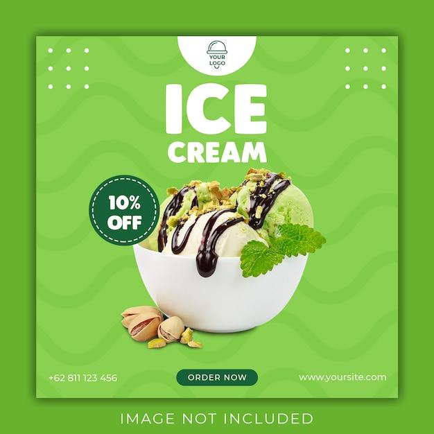 Modèle De Bannière De Médias Sociaux De Crème Glacée PSD Premium