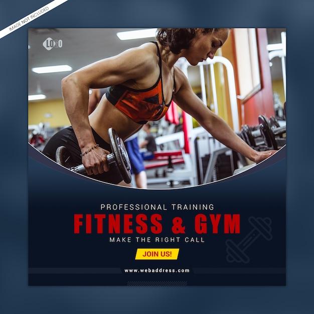 Modèle De Bannière De Médias Sociaux Fitness Et Gym PSD Premium