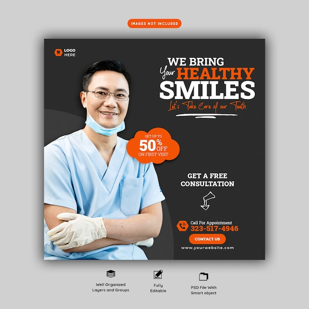 Modèle De Bannière De Médias Sociaux Pour Dentiste Et Soins Dentaires Psd gratuit