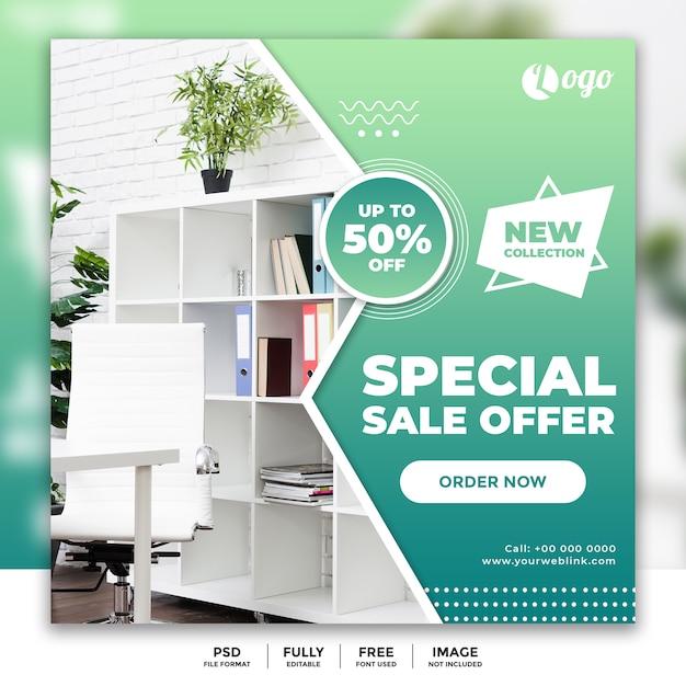 Modèle de bannière de médias sociaux pour la vente de meubles PSD Premium