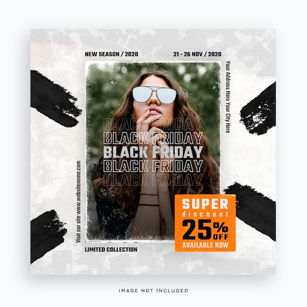 Modèle De Bannière De Médias Sociaux Vendredi Noir PSD Premium