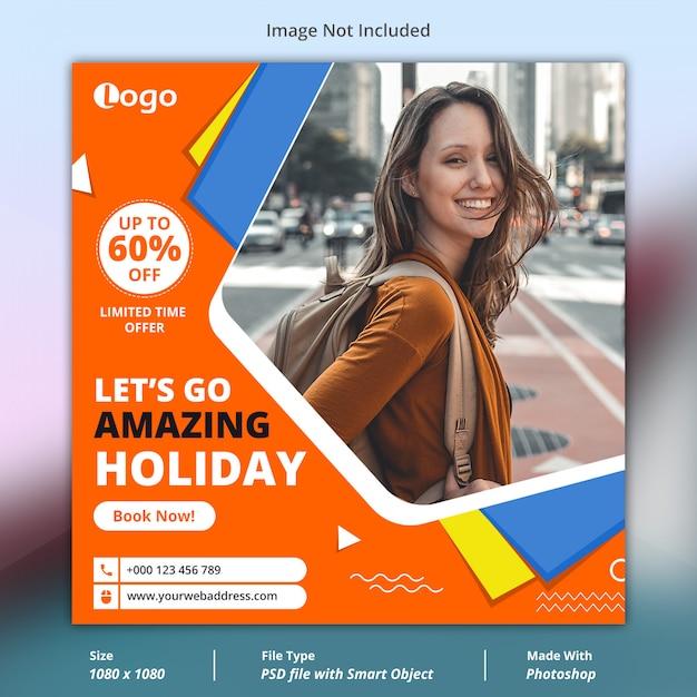 Modèle de bannière de médias sociaux de voyage PSD Premium