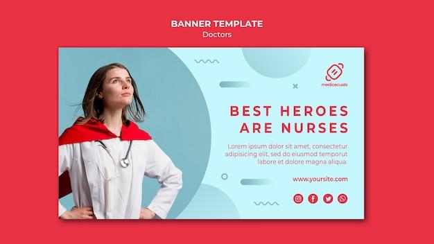 Modèle De Bannière De Meilleurs Héros Sont Des Infirmières Psd gratuit