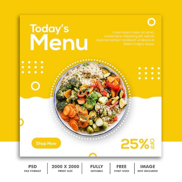 Modèle de bannière de menu carré PSD Premium
