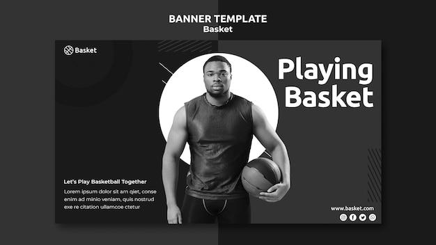 Modèle De Bannière En Noir Et Blanc Avec Un Athlète De Basket-ball Masculin Psd gratuit